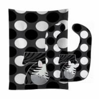 Carolines Treasures  BB9014STBU Zoo Month 7 Zebra Baby Bib & Burp Cloth - 1