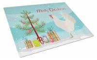 Leghorn Chicken Christmas Glass Cutting Board Large