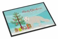 White Arctic Fox Christmas Indoor or Outdoor Mat 18x27