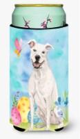 White Staffie Bull Terrier Easter Tall Boy Beverage Insulator Hugger - Tall Boy