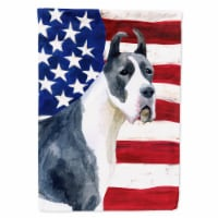 Carolines Treasures  BB9643GF Harlequin Great Dane Patriotic Flag Garden Size