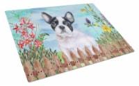 French Bulldog Black White Spring Glass Cutting Board Large - 12Hx15W