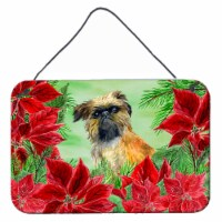 Brussels Griffon Poinsettas Wall or Door Hanging Prints - 8HX12W