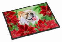 English Bulldog Poinsettas Indoor or Outdoor Mat 24x36