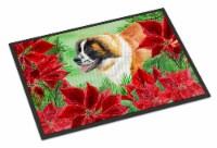 Saint Bernard Poinsettas Indoor or Outdoor Mat 24x36 - 24Hx36W