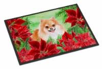 Pomeranian #2 Poinsettas Indoor or Outdoor Mat 24x36 - 24Hx36W