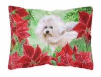 Bichon Frise #2 Poinsettas Canvas Fabric Decorative Pillow - 12Hx16W