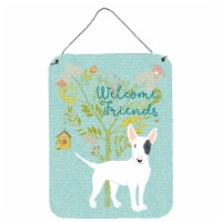 Welcome Friends White Patched Bull Terrier Wall or Door Hanging Prints