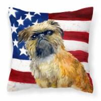 Brussels Griffon Patriotic Fabric Decorative Pillow - 14Hx14W