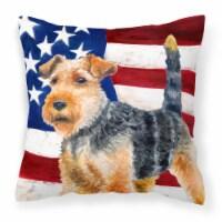 Welsh Terrier Patriotic Fabric Decorative Pillow