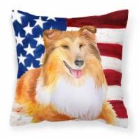 Carolines Treasures  BB9720PW1414 Sheltie Patriotic Fabric Decorative Pillow
