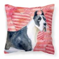 Harlequin Great Dane Love Fabric Decorative Pillow