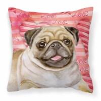 Carolines Treasures  BB9805PW1414 Fawn Pug Love Fabric Decorative Pillow
