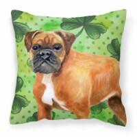 German Boxer St Patrick's Fabric Decorative Pillow - 14Hx14W