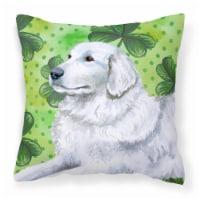 Maremma Sheepdog St Patrick's Fabric Decorative Pillow - 14Hx14W