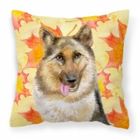 Carolines Treasures  BB9915PW1414 German Shepherd Fall Fabric Decorative Pillow - 14Hx14W