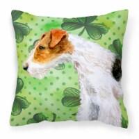 Fox Terrier St Patrick's Fabric Decorative Pillow - 18Hx18W