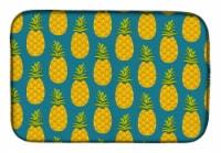 "Carolines Treasures  BB5145DDM Pineapples on Teal Dish Drying Mat - 14  x 21"""