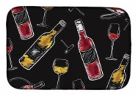 Carolines Treasures  BB5197DDM Red and White Wine on Black Dish Drying Mat