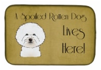 Bichon Frise Spoiled Dog Lives Here Dish Drying Mat