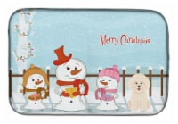 Merry Christmas Carolers Bichon Frise Dish Drying Mat