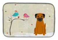 Christmas Presents between Friends Border Terrier Dish Drying Mat