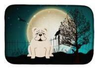 Halloween Scary  English Bulldog White Dish Drying Mat