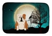 Halloween Scary  English Bulldog Fawn White Dish Drying Mat