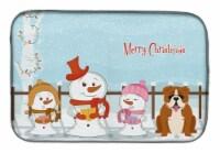 Merry Christmas Carolers English Bulldog Red White Dish Drying Mat