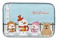 "Merry Christmas Carolers English Bulldog Fawn Dish Drying Mat - 14  x 21"""