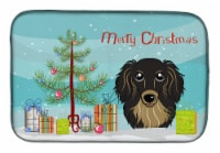 Christmas Tree and Longhair Black and Tan Dachshund Dish Drying Mat