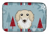 Winter Holiday Longhair Creme Dachshund Dish Drying Mat