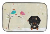 Christmas Presents between Friends Wire Haired Dachshund Dapple Dish Drying Mat