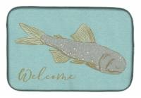 Carolines Treasures  BB8550DDM Fish Welcome Dish Drying Mat