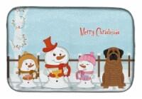 Merry Christmas Carolers Mastiff Brindle Dish Drying Mat
