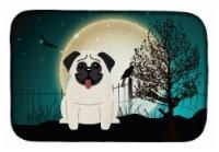 Carolines Treasures  BB2194DDM Halloween Scary Pug Cream Dish Drying Mat
