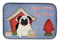 "Carolines Treasures  BB2758DDM Dog House Collection Pug Cream Dish Drying Mat - 14  x 21"""