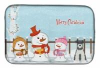 """Merry Christmas Carolers Miniature Schanuzer Salt and Pepper Dish Drying Mat - 14  x 21"""""""