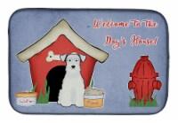 Dog House Collection Miniature Schanuzer White Dish Drying Mat
