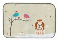 "Christmas Presents between Friends Shih Tzu Red White Dish Drying Mat - 14  x 21"""