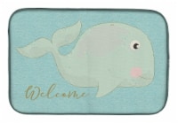 """Carolines Treasures  BB8533DDM Whale Welcome Dish Drying Mat - 14  x 21"""""""