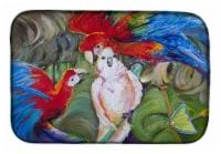 """Carolines Treasures  JMK1018DDM Menage-a-trois Parrots Dish Drying Mat - 14  x 21"""""""