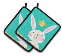 Carolines Treasures  VHA3032PTHD Happy Easter Rabbit Pair of Pot Holders - Standard