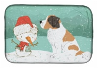 Carolines Treasures  CK2050DDM Saint Bernard Snowman Christmas Dish Drying Mat