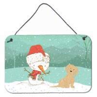 Brown Maltese Snowman Christmas Wall or Door Hanging Prints - 8HX12W