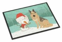 German Shepherd and Snowman Christmas Indoor or Outdoor Mat 24x36