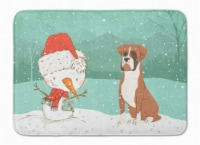 Fawn Boxer and Snowman Christmas Machine Washable Memory Foam Mat