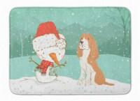 Red Spaniel Snowman Christmas Machine Washable Memory Foam Mat