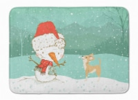 Tan Chihuahua Snowman Christmas Machine Washable Memory Foam Mat