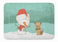 Yorkie Natural Ears Snowman Christmas Machine Washable Memory Foam Mat